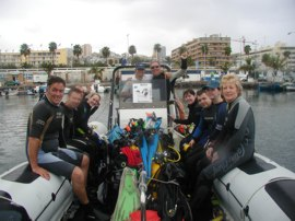 Boat dives in Gran Canaria are best undertaken from small mobile craft such as this RIB to get you to the site and back quickly.