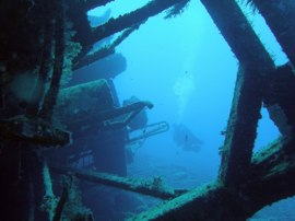 The wreck of the Cermona II outside Mogan harbour in Gran Canaria