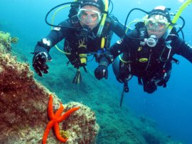 Dive with your partner in the warm subtropical waters of the El Cabrón marine reserve